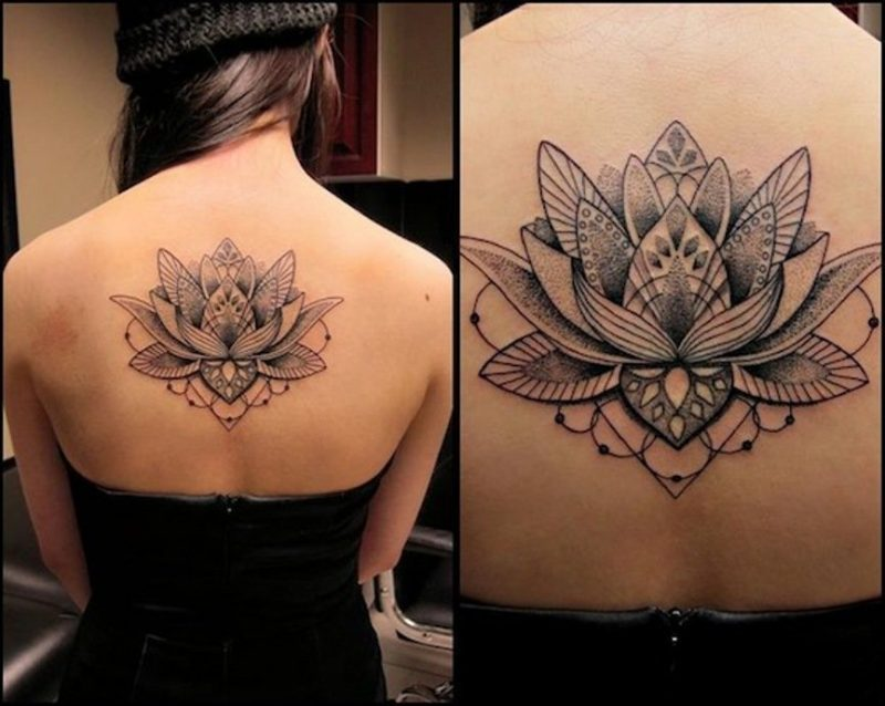 Flor De Lotus Tatuagem Preta Colorida Masculina Feminina